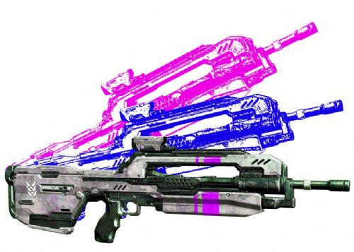 GAMES - HALO - BATTLE RIFLE 2 canvas print - self adhesive poster - photo print